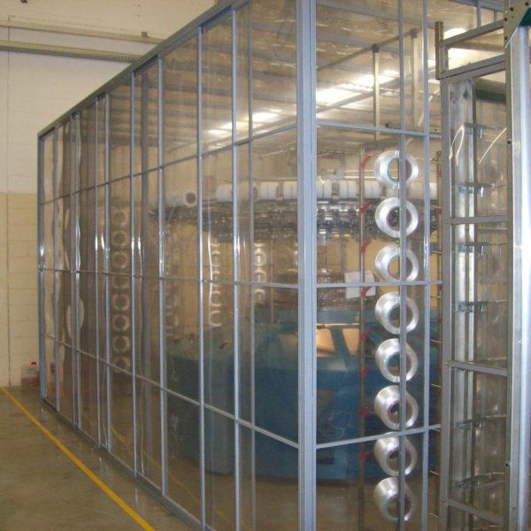 box in metallo con pannelli in policarbonato per chiusura macchinario
