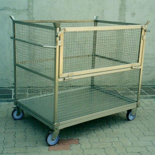 carrello in rete con pianale in lamiera e sponda ribaltabile