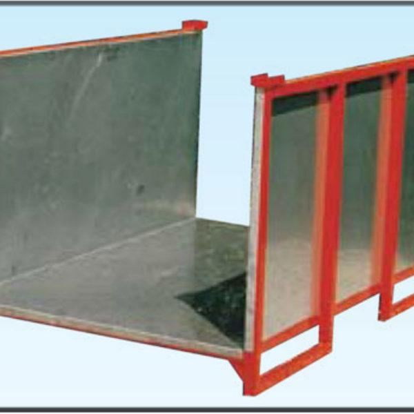 contenitore sovrapponibile con sponde e pianale in lamiera inox