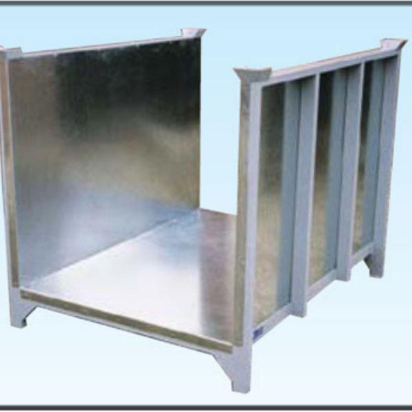 contenitore sovrapponibile con sponde e pianale in lamiera zincata